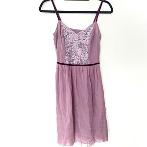 Vintage Tulle Lace Fit and Flare Purple Violet Cami Dress